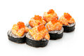 Sushi roll on a white background decorated Stock Image