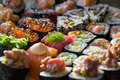 Sushi rolls close up soft focus Royalty Free Stock Image