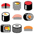 Sushi rolls icons Royalty Free Stock Image