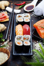 Sushi rolls with ingredients Stock Images