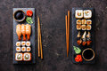 Sushi rolls, maki, nigiri Set served for two