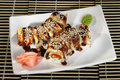 Sushi rolls menu poured soy sauce Royalty Free Stock Photo