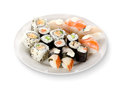 Sushi and rolls in a plate Royalty Free Stock Images