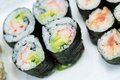 Sushi Rolls in Plate Stock Photos