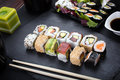 Sushi rolls on plate Royalty Free Stock Photo