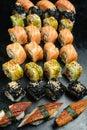 Sushi set mix asian cuisine japanese food Royalty Free Stock Photo