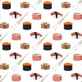 Sushi rolls sashimi seafood fish rice seamless pattern background japanese food fresh soy sauce japan meal maki raw Royalty Free Stock Photo