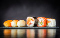 Sushi Rolls with Surimi and Smoked Salmon Royalty Free Stock Photo