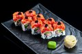 Sushi rolls with tuna and caviar Royalty Free Stock Photo