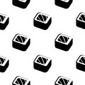 Sushi and rolls vintage seamless monochrome pattern on a wrapping paper, Japanese food vector background illustration. Royalty Free Stock Photo