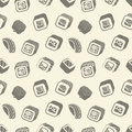 Sushi and rolls vintage seamless pattern on a wrapping paper, Japanese food vector monochrome backround illustration. Royalty Free Stock Photo