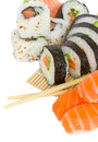 Sushi and rolls on white Stock Image