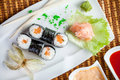 Sushi salmon and caviar rolls top view Stock Images