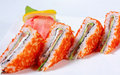 Sushi sandwiches with salmon and caviar tobiko Stock Photos
