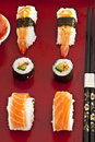 Sushi,sashimi,Maki Japanese cuisine. Royalty Free Stock Photos