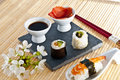 Sushi,sashimi,Maki Japanese cuisine. Stock Photo