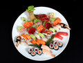 Sushi and sashimi mixed Royalty Free Stock Photo
