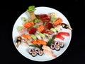 Sushi and sashimi mixed Royalty Free Stock Photo
