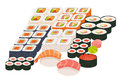 Sushi and sashimi set. Shrimp sushi, Sushi roll caviar. Japanese, asian restaurant food, cartoon style Royalty Free Stock Photo