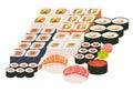 Sushi and sashimi set. Shrimp sushi, Sushi roll caviar. Japanese, asian restaurant food, cartoon style Royalty Free Stock Photo
