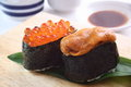 Sushi, sea urchin and salmon roe Royalty Free Stock Photo