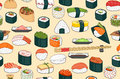 Sushi seamless background bright with Stock Image
