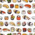 Sushi seamless pattern colorful with different types of and rolls asian motif Royalty Free Stock Photos