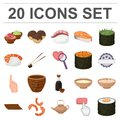 Sushi and seasoning cartoon icons in set collection for design. Seafood food, accessory vector symbol stock web