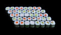 Sushi set on black background Royalty Free Stock Images