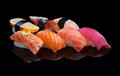 Sushi set on black background Stock Image