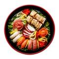 Sushi Set in black Sushioke round plate isolated Royalty Free Stock Photo