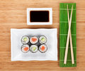 Sushi set, chopsticks and soy sauce Royalty Free Stock Photo