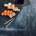 Sushi set of different rolls with soy sauce Royalty Free Stock Photo