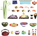 Sushi set japanese food and decorative illustration Stock Image