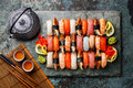 Sushi Set nigiri with tea Royalty Free Stock Photo