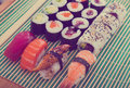 Sushi set in restaurant Royalty Free Stock Photo