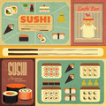 Sushi set of retro labels in vintage style illustration Royalty Free Stock Photography