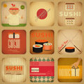 Sushi set of retro labels in vintage style in square format illustration Stock Photo