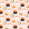 Sushi set, rolls with salmon, nigiri with shrimp, maki. Traditional Japanese food seamless pattern. Royalty Free Stock Photo