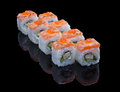 Sushi set with salmon and omelet on black background Stock Image