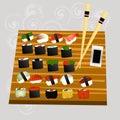 Sushi set, sea food , maki and rolls japanes