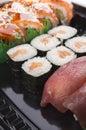 Sushi set sea food with tuna and salmon Stock Photo