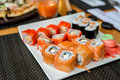 Sushi set with seafood, Japanese kitchen Royalty Free Stock Photo