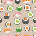 Sushi set seamless pattern. Rolls endless background. Japanese cuisine repetitive texture. Backdrop, wallpaper. Vector Royalty Free Stock Photo