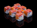Sushi set with shrimp cheese and salmon on black background Royalty Free Stock Photography