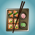 Sushi set square plate of rolls and chopsticks Stock Photography