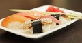 Sushi set on white plate see my other works in portfolio Stock Images