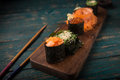 Sushi set on a wooden tray Royalty Free Stock Photo