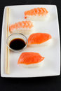 Sushi sticks sauce plate Stock Images