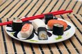 Sushi on the table-cloth Royalty Free Stock Photography